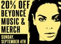 20% Off Beyonce Music & Merch at Our Stores Sunday, September 4th