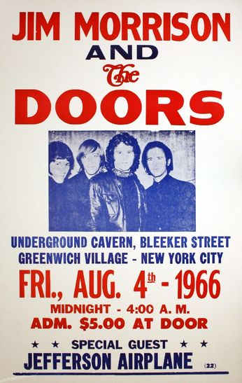 The Doors / Jefferson Airplane - The Underground Cavern - August 4, 1966 (Poster)