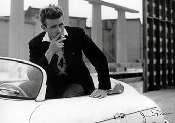 James Dean - White Car (Poster)