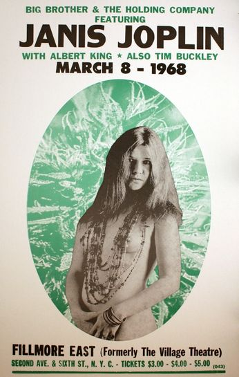 Janis Joplin / Big Brother & The Holding Company - Fillmore East - March 8, 1968 (Poster)