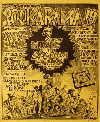 Rockarama! - Santana / It's A Beautiful Day / Youngbloods / Alice Cooper - The Avalon Ballroom - March 26 - 30, 1969 (Poster)