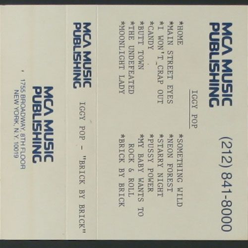 Iggy Pop Brick By Brick Promo Cassette Amoeba Music