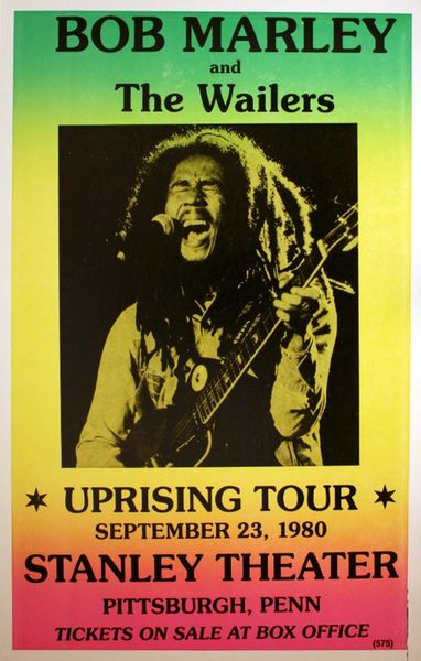 Bob Marley Stanley Theater September 23 1980 Poster