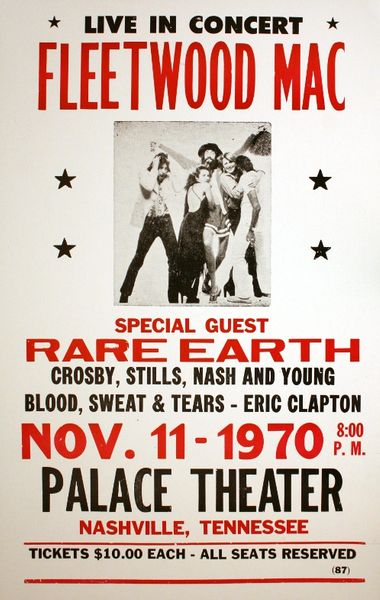 Fleetwood Mac Palace Theater November 11 1970 Poster