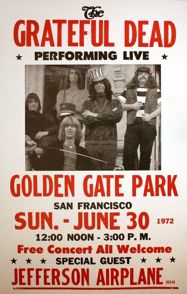 Grateful Dead Golden Gate Park June 30 1972 Poster