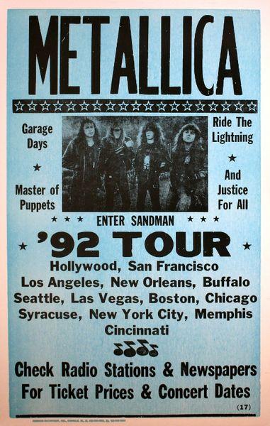 Metallica 1992 Tour Poster Amoeba Music