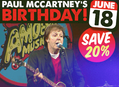 Paul McCartney Birthday Sale June 18