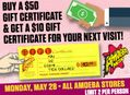 Buy a $50 Gift Certificate at Our Stores May 28 and Get a Bonus $10 Gift Certificate