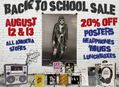 Back To School Sale at Our Stores Saturday, August 12 & Sunday, August 13