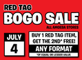 Red Tag BOGO Sale at Our Stores Thursday, July 4th