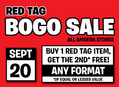 Red Tag BOGO Sale at Our Stores September 20