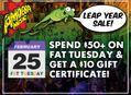 Fat Tuesday Gift Certificate Promo + George Harrison Birthday Sale at Our Stores February 25