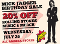 20% Off All Rolling Stones Items at Our Stores Wednesday, July 26