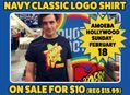 Navy Classic Logo T-Shirt on Sale at Amoeba Hollywood Sunday, February 18