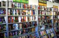 Bargains, rarities and fun '80s flicks our great wall of VHS.  Lots of stuff you can't get on DVD.