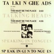 """Talking Heads, This Must Be The Place [Naive Melody] (12"""")"""