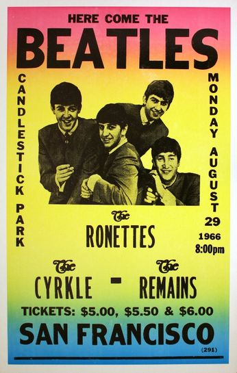The Beatles Candlestick Park August 29 1966 Poster