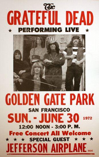 Grateful Dead Golden Gate Park June 30 1972 Poster