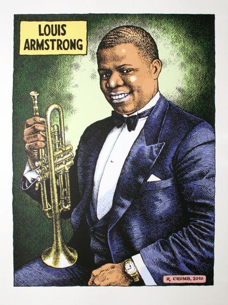 robert crumb - louis armstrong  color   poster