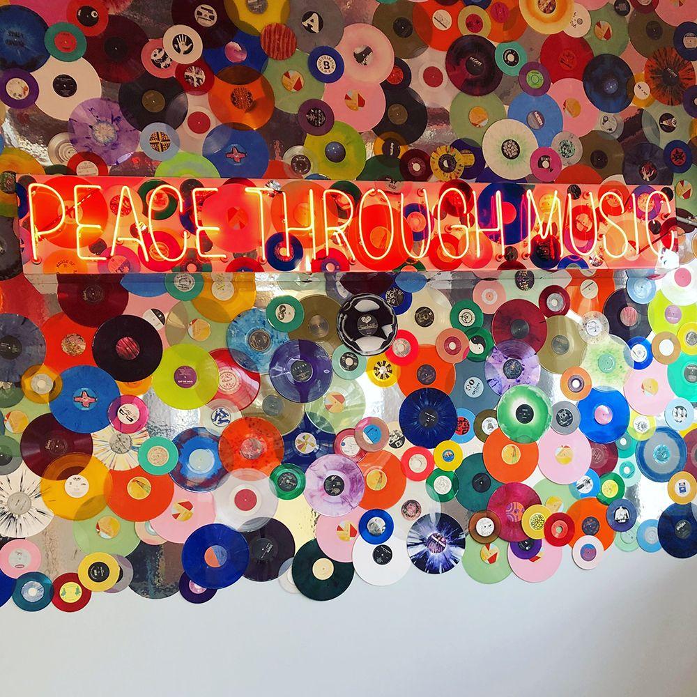 Peace Through Music installation inside Amoeba Hollywood