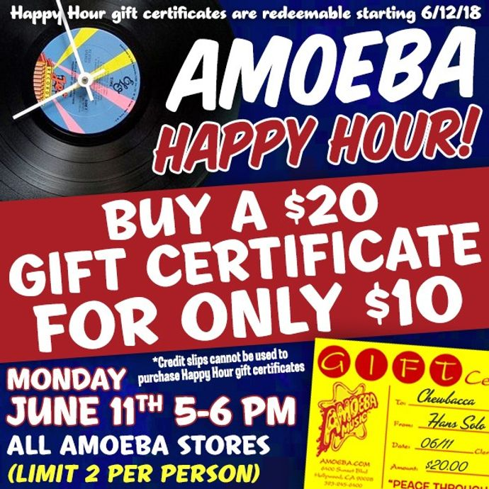 Happy Hour Gift Certificate Sale at Our Stores Monday, June 11