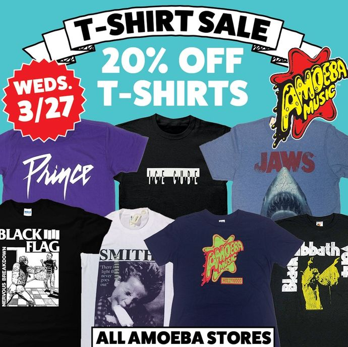 8024f00f Amoeba Music - 20% Off All T-Shirts at Our Stores Wednesday, March 27