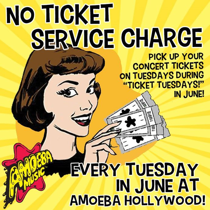 No Ticket Service Fees at Amoeba Hollywood Tuesdays in June