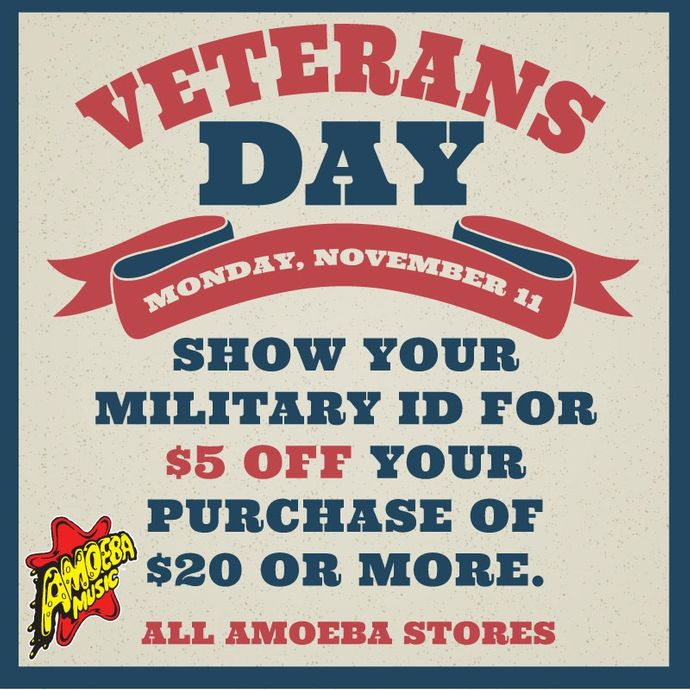 Veterans Day Discount at Our Stores Monday, November 11